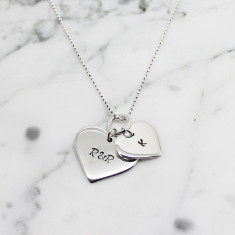 Personalised double love heart sterling silver necklace