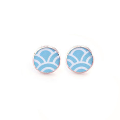Rose gold sky blue studs in gift tin