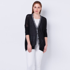 Cotton Cashmere Sheer summer cardigan - black