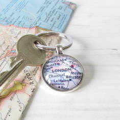 Personalised location map key ring