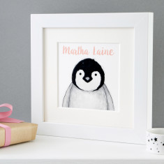 Personalised Baby Penguin Framed Print