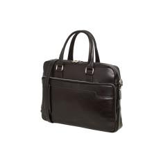 Cross-body briefcase in genuine black leather