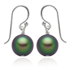 Swarovski pearl earrings in scarabaeus green