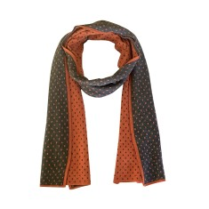 Double sided scarf in charcoal and orange
