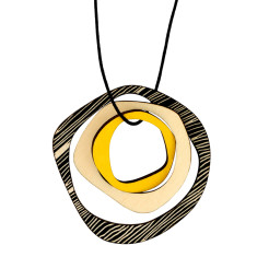 Retro yellow with black stripes necklace
