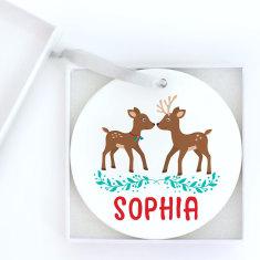 Personalised Sweet Deers Christmas Ornament