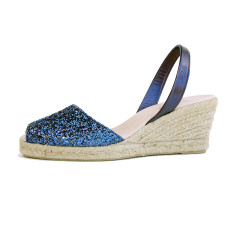 Lluna leather sandals in night blue glitter