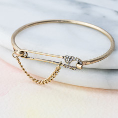 Sparkly vintage feel safety pin bangle