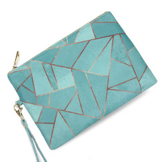 Duck Egg & Copper Geometric Vegan Leather Pouch Clutch Bag