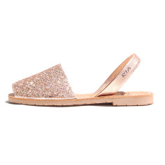 Joan leather sandals in rose glitter