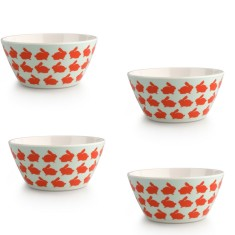 Kissing Rabbits Melamine Bowls (Set of 4)
