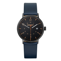 Black 39mm watch with sea blue leather band
