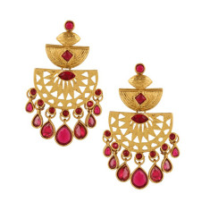 Gold chandelier statement earrings with cherry red stones