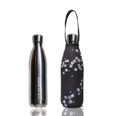 Stainless steel future bottle with carry cover in spring print (500ml)