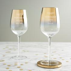 Personalised 'Vintage' Birthday Gold Wine Glass