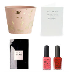 Plant pot, nail polishes & bath soak gift hamper for her