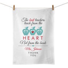 The heart teacher personalised tea towel