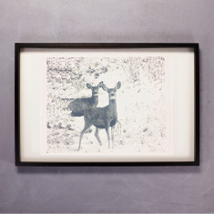 Reindeer Print Wall Art on Handmade Paper