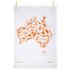 Australian map tea towel