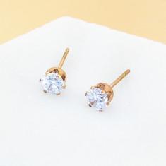 Petite cubic zirconia stud earrings in rose gold