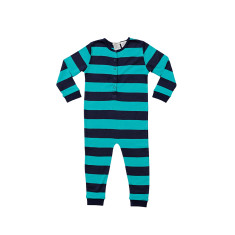 Teale and Navy Striped Onesie