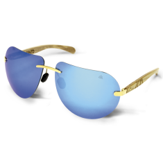 Fento wooden sunglasses in ash gold & blue