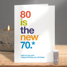 Funny 80 is the new 70 birthday card