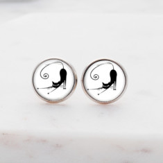 French cat glass stud post earrings in silver