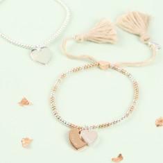 Personalised Double Heart Dainty Links Bracelet