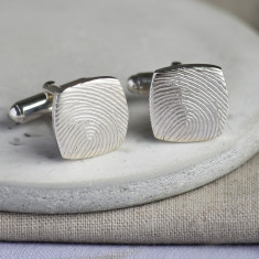 Silver fingerprint cushion cufflinks