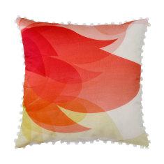 Bright Summer Botanical Print Cushion with Pom Pom Trim