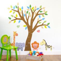 Tree With Safari Animals Wall Sticker