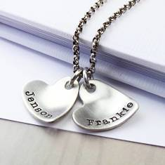 Personalised sterling silver curvy heart necklace