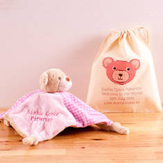 Personalised Baby Comforter Rattle and Personalised Bag