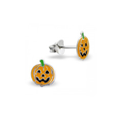 Pumpkin Halloween Sterling Silver Stud Earrings