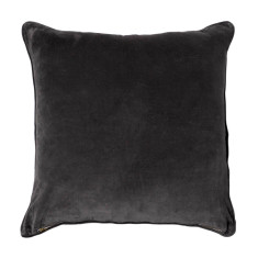 Basic large velvet cushion cover in charcoal