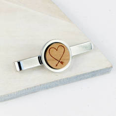 Wooden heart arrow tie bar