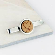 Wooden heart arrow tie bar