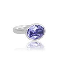 Tanzanite Crystal Oval Ring