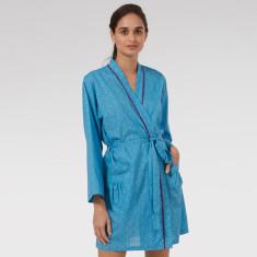 Short Kimono in Blue Mini Orchid print
