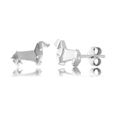 Sausage Dog Origami Stud Earrings