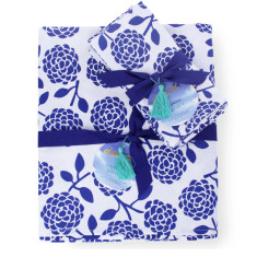 Tablecloth & napkin set Hydrangea navy/cobalt