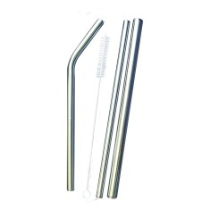 Eco Stainless Steel Straws - Pack of 3 with cleaning brush