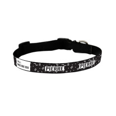 Personalised dog collar in Black Zig