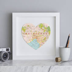 Melbourne map heart print