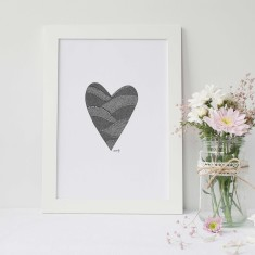 Heart drawing print