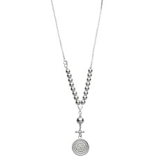 Ball and coin necklace in silver