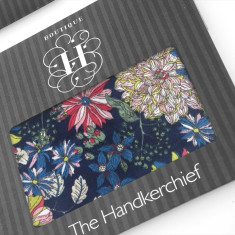 Vibrant Flowers on Navy Hankies (Set of 2)