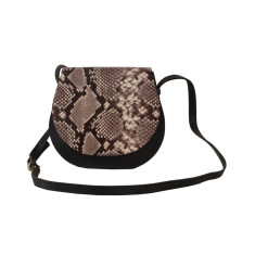 Python Look Leather Shoulder bag in Black