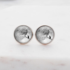 Cat and moon glass stud post earrings in silver